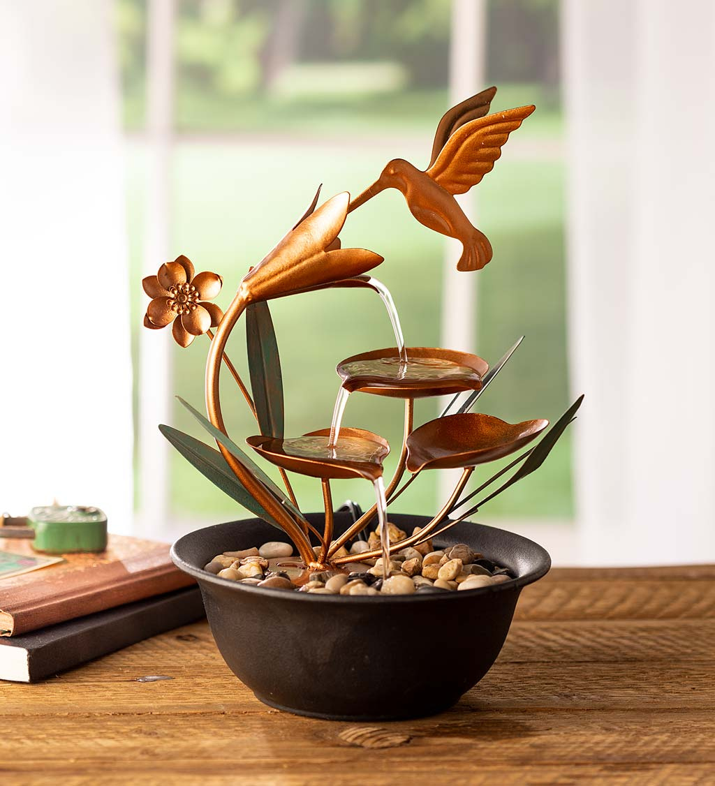 Indoor Hummingbird and Flowers Metal Fountain with River Rocks