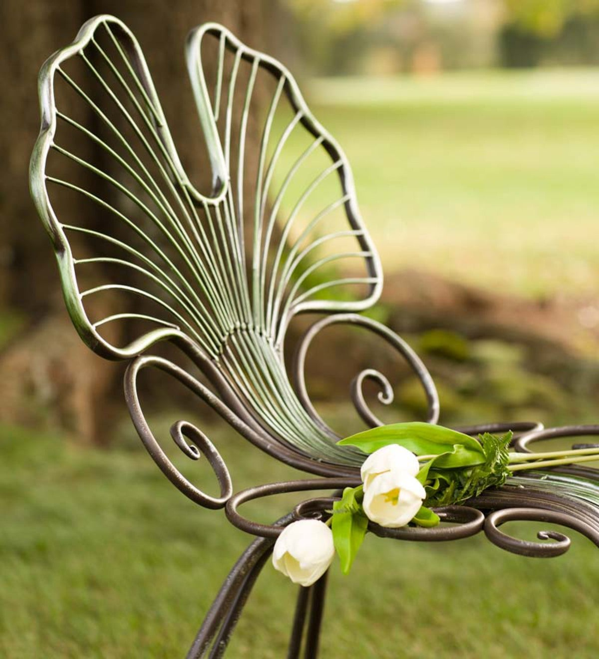 Ginkgo Leaf Outdoor Chair In Metal Wind And Weather