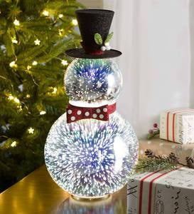 Stargazing LED Glass Holiday Snowman