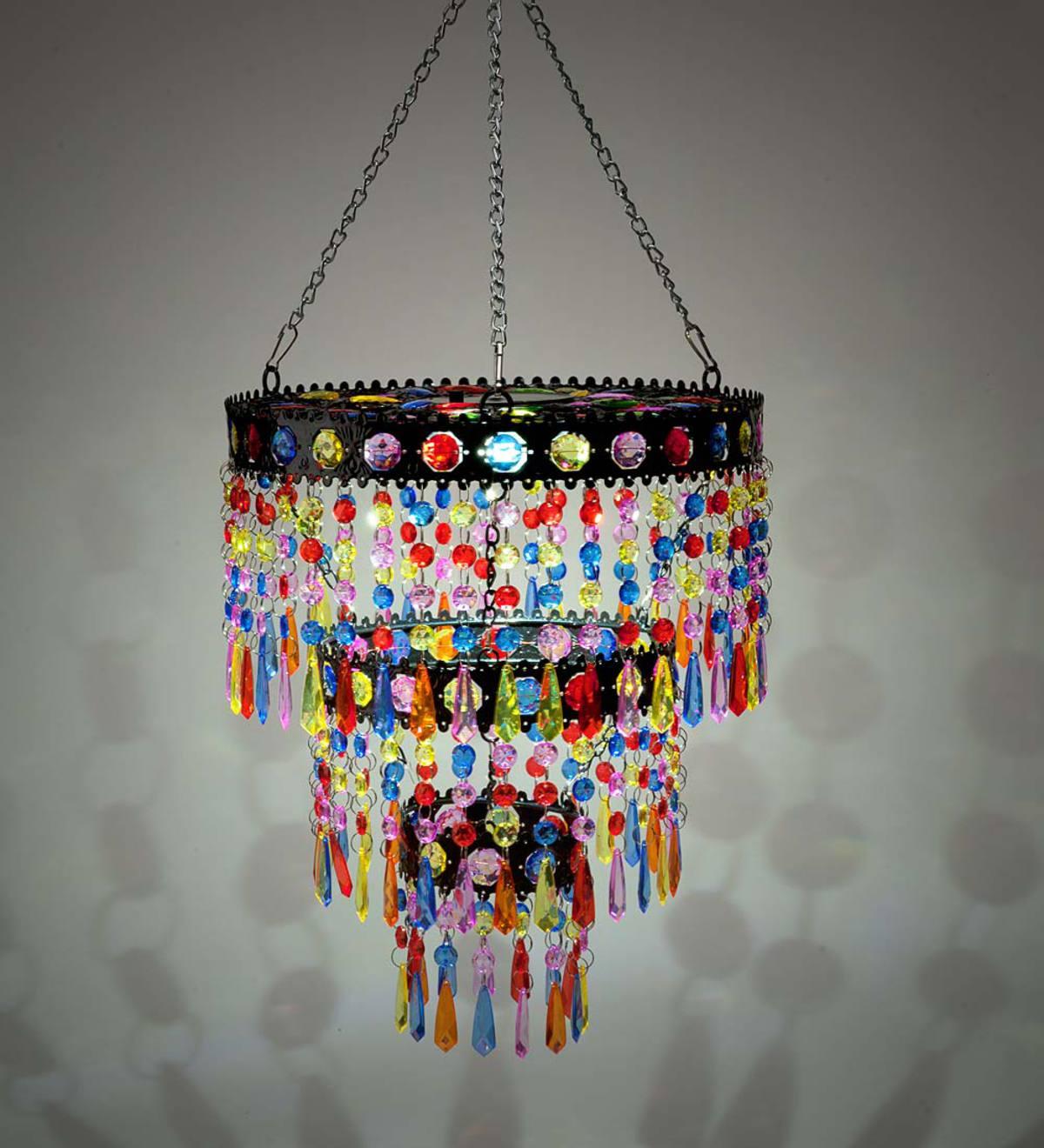 colorful chandelier lighting pink acrylic colorful beaded solarpowered minichandelier metal light solar