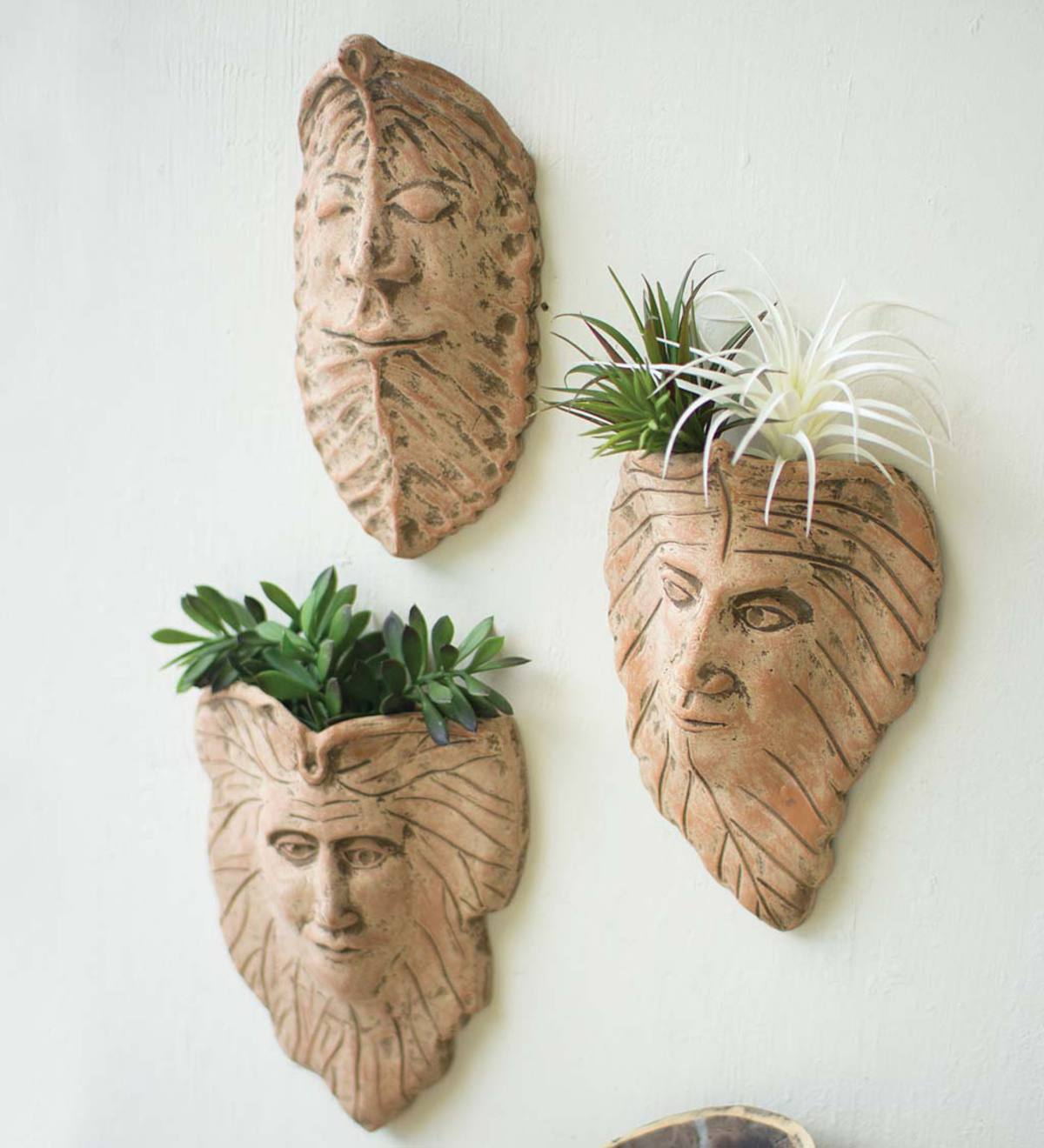 Clay Face Planters, Set of 3