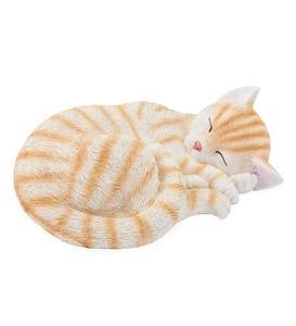 White and Ginger-Striped Sleeping Kitty Indoor/Outdoor Sculpture