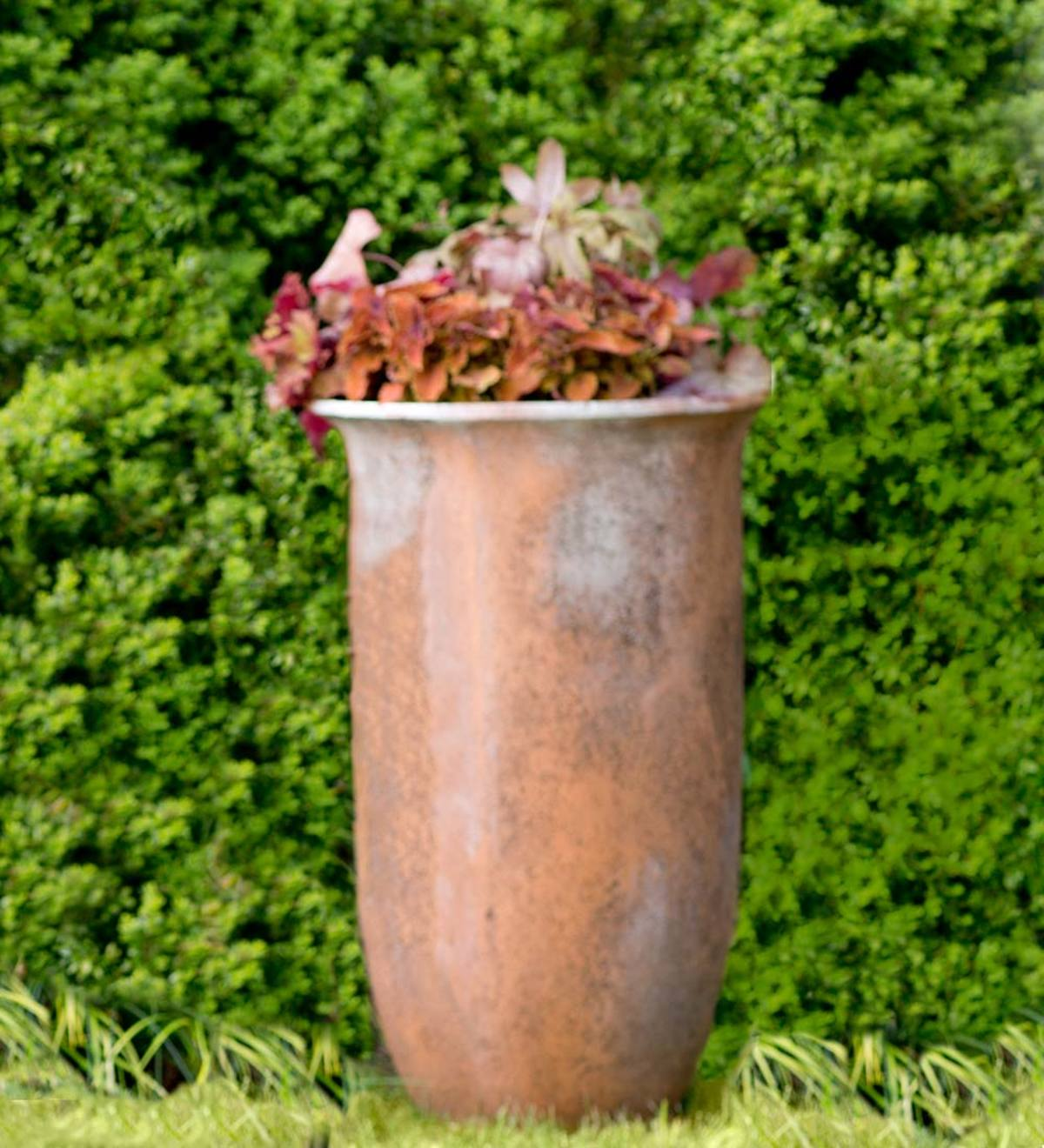 Tall Rust-Colored Stone Planter