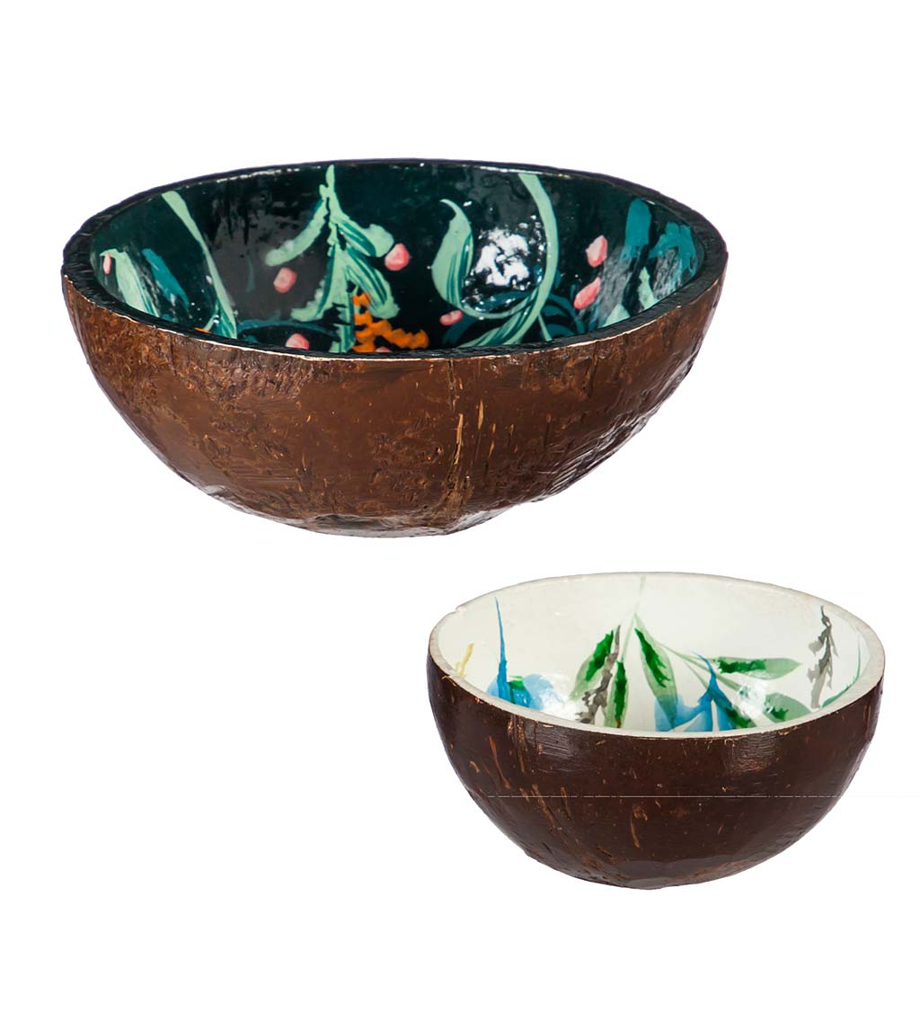 Floral Painted Natural Coconut Bowls, Set of 2