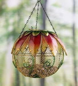 Red Spring Floral Mesh Bird Feeder