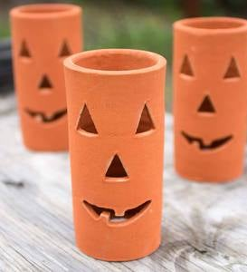 Clay Jack-o'-Lantern Candle Holders, Set of 6