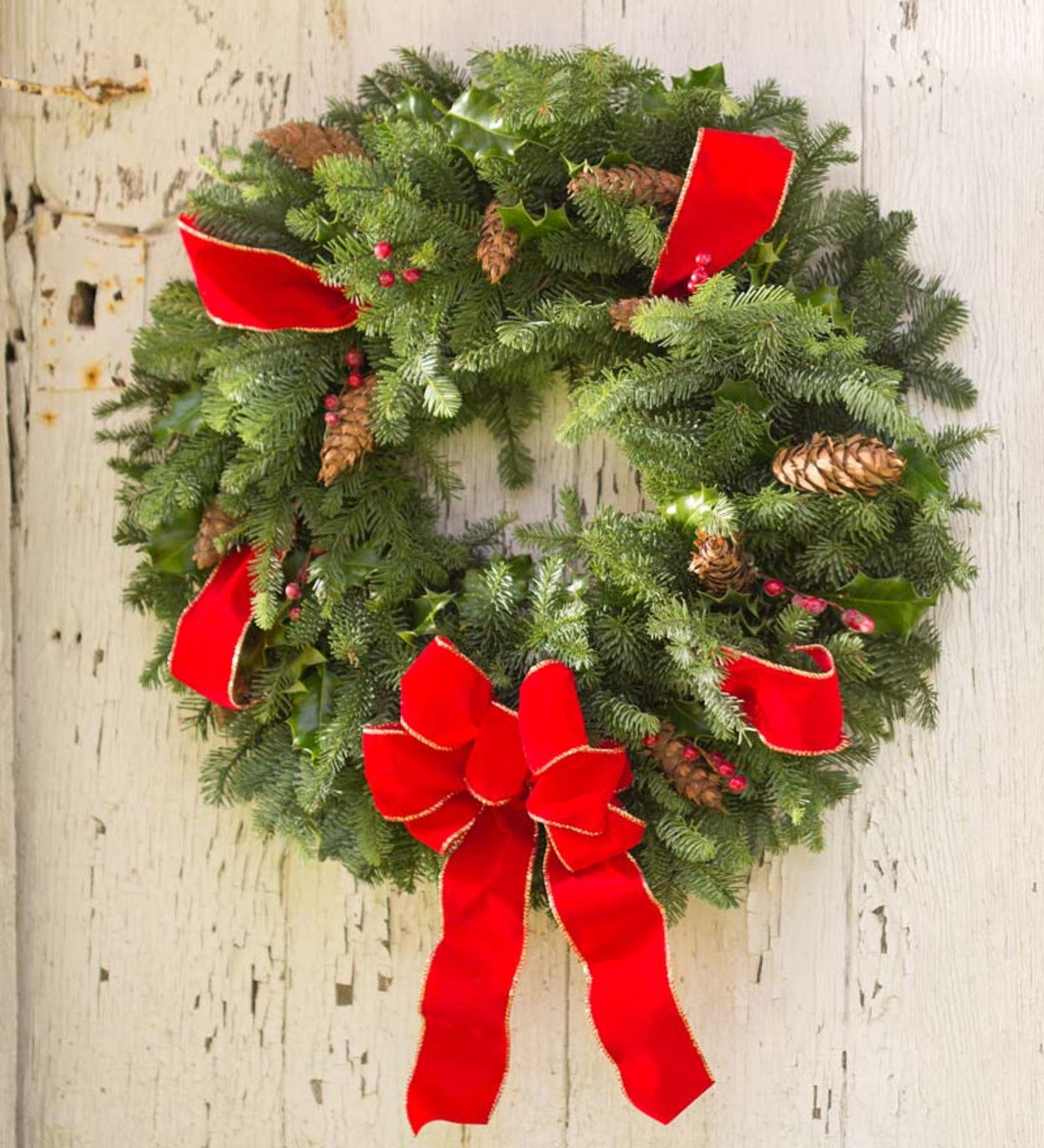 Handmade Fresh Holiday Wreath With Holly