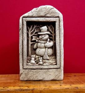 Snowman with Bunnies Decorative Garden Stone