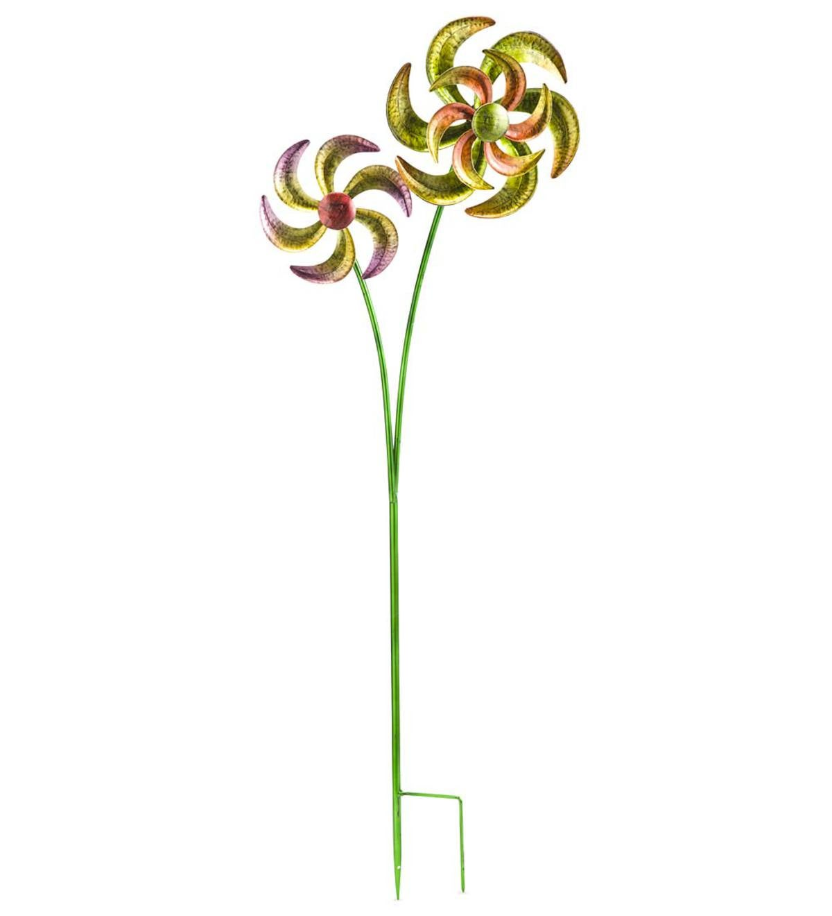 Colorful Metal Dual-Pinwheel Spinner - Green