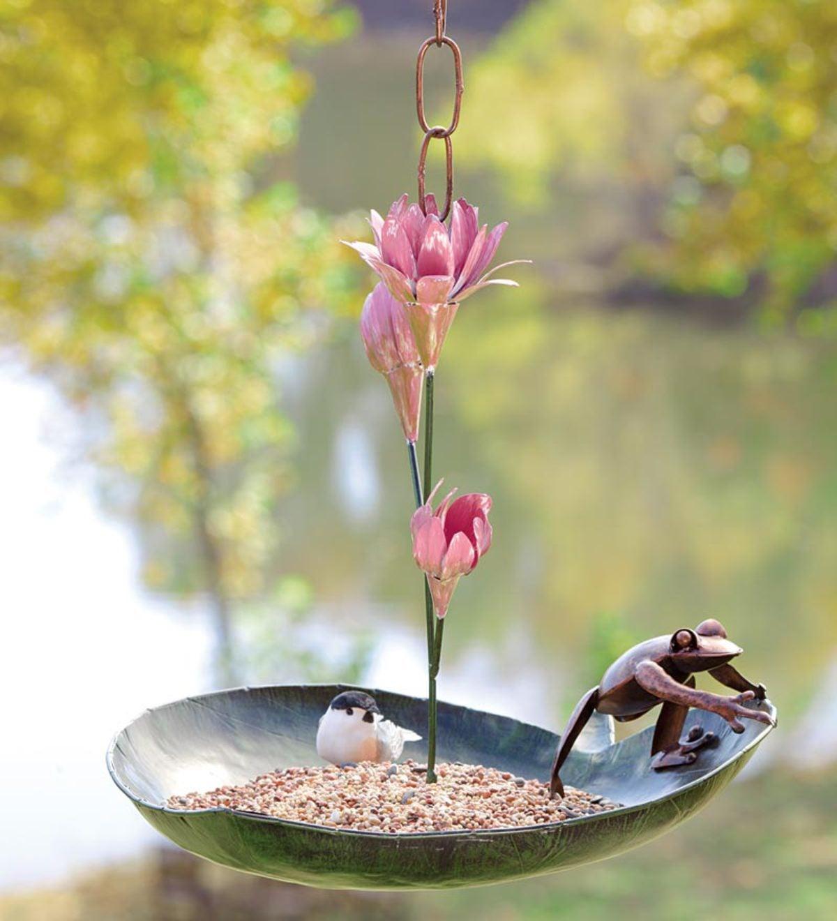 Frog And Lotus Metal Bird Feeder Or Birdbath | Wind and Weather