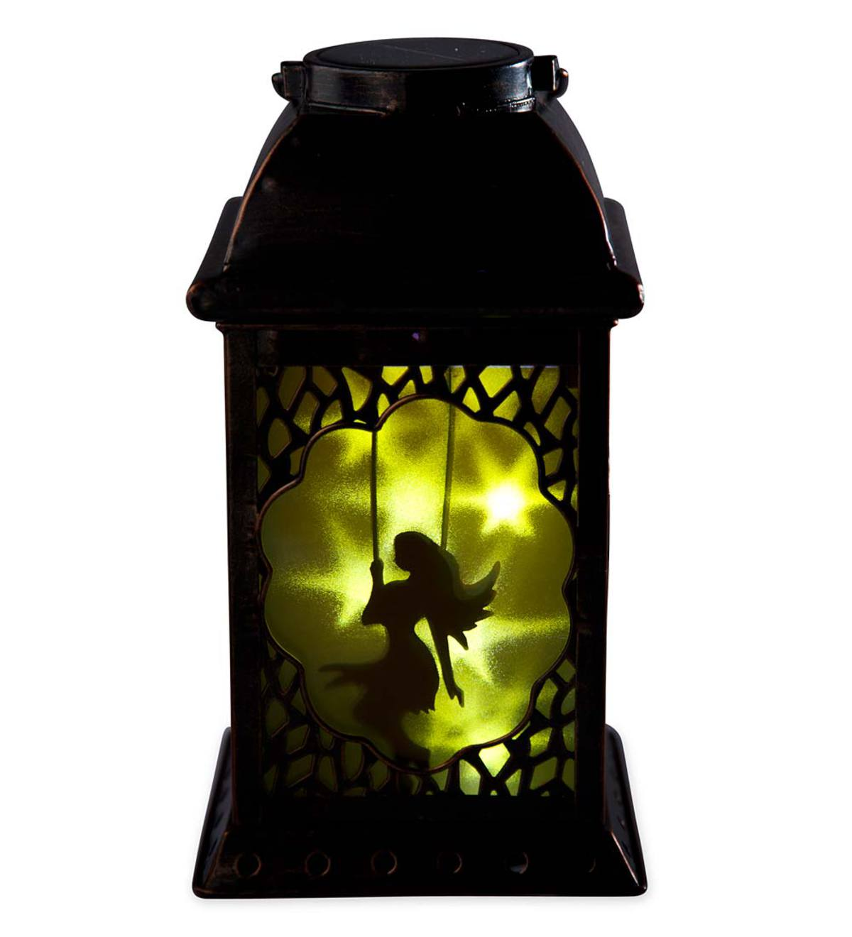 Solar Lantern With Fairy Silhouette Wind And Weather