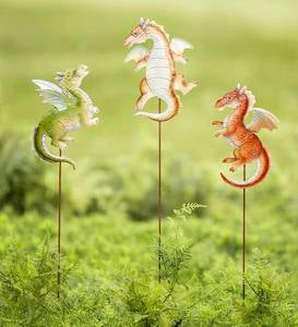 Staked or Hanging Metal Baby Garden Dragons, Set of 3