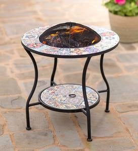 Mosaic Tile Convertible Fire Pit/Side Table