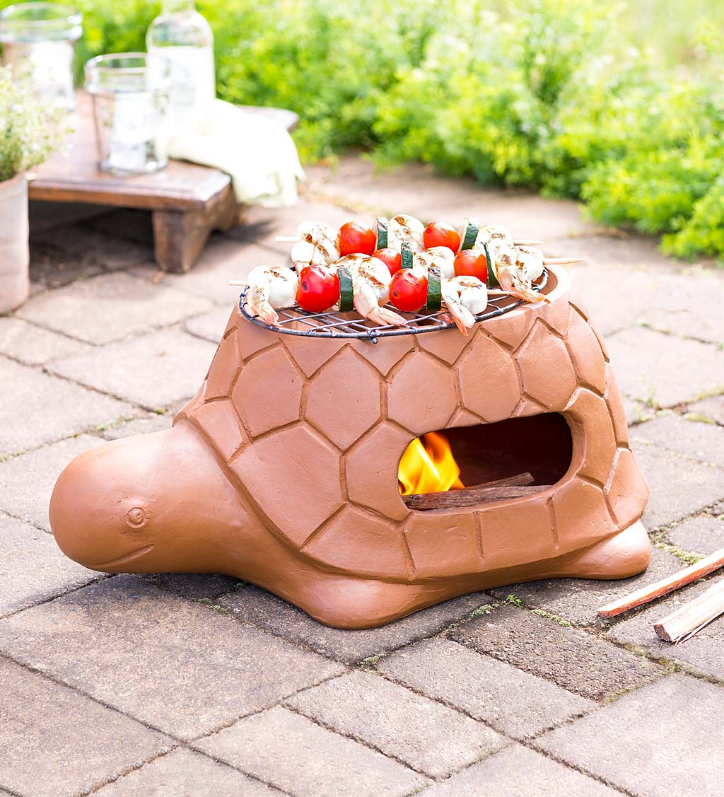 Whimsical Tabletop Terra Cotta Turtle Barbecue Grill