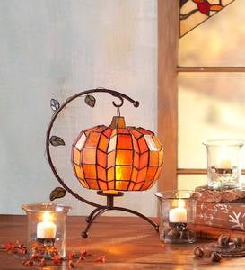 Glass Pumpkin Tea Light Holder