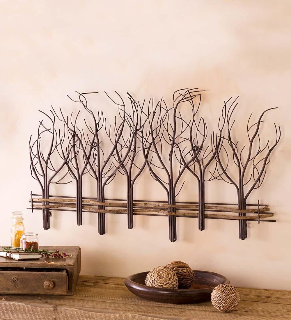 Metal and Natural Vine Winter Trees Wall Art