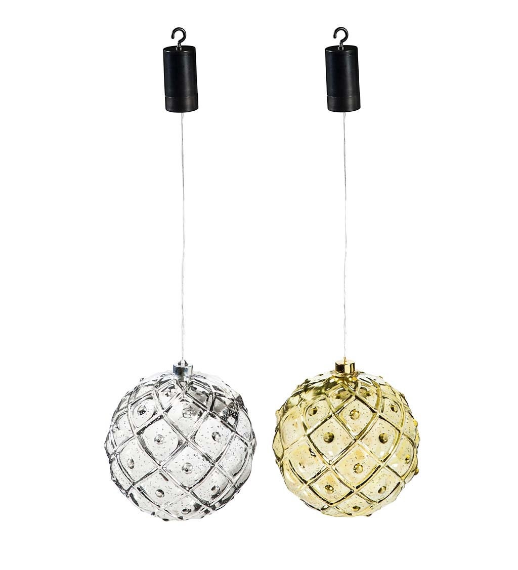 "8"" Indoor/Outdoor Shatterproof Lighted Multicolor Ornaments, Set of 2 - Silver/Gold"