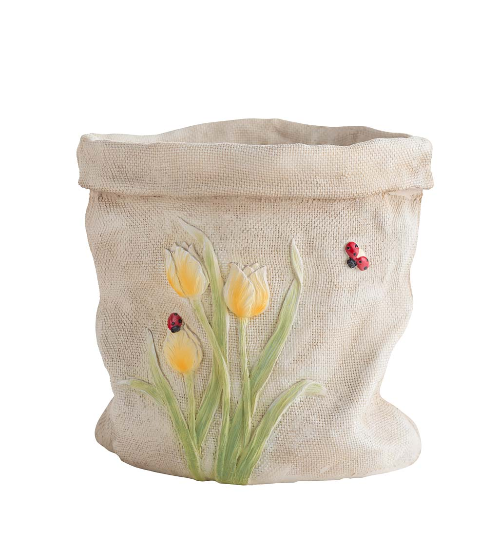 Weather-Resistant Resin Rumpled Bag Planter with Tulip Design - Yellow