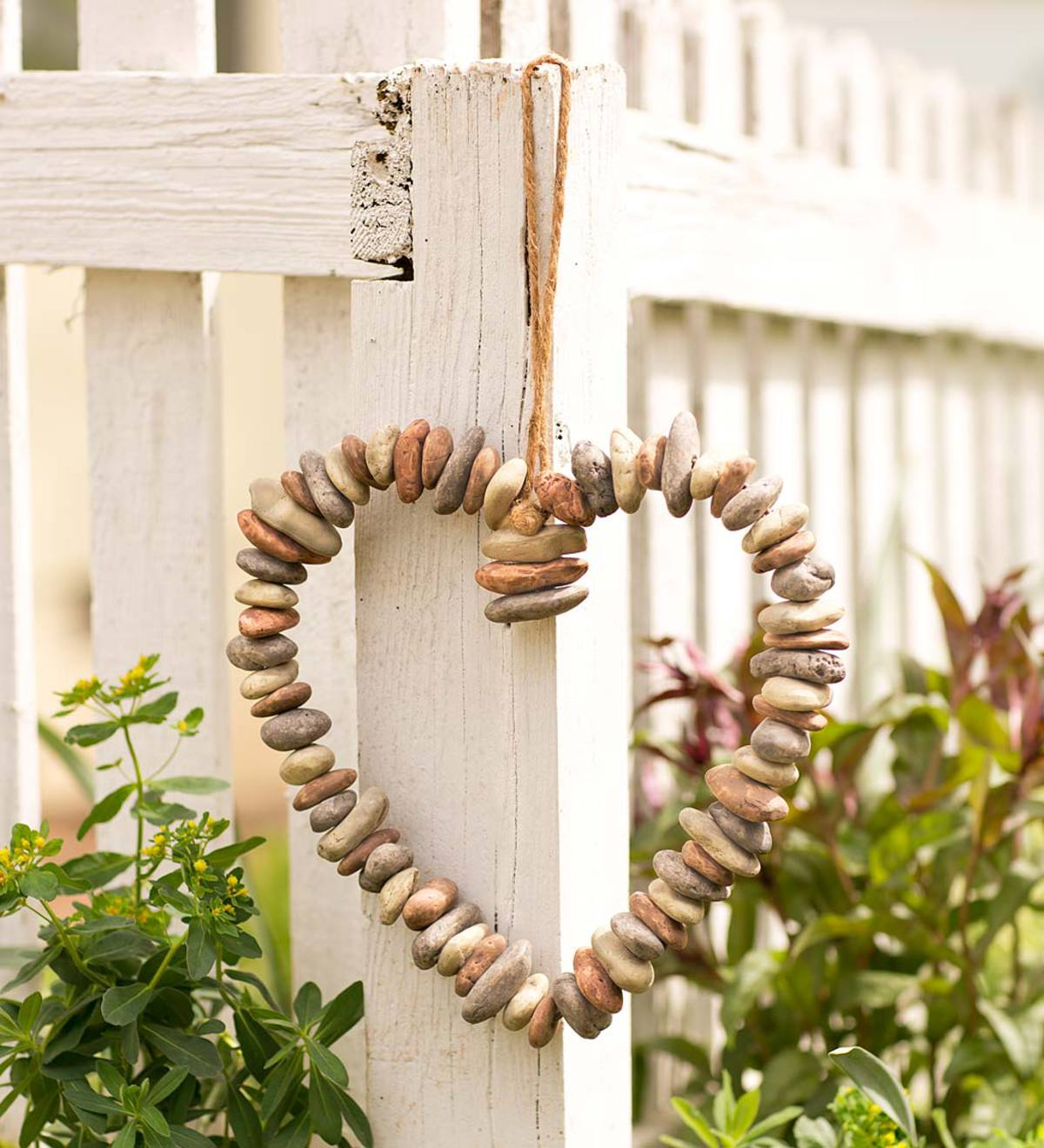 Decorative Indoor/Outdoor Heart-Shaped Wreath of Faux River Rocks