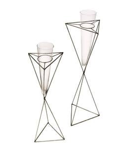 Metal and Glass Bud Vases, Set of 2
