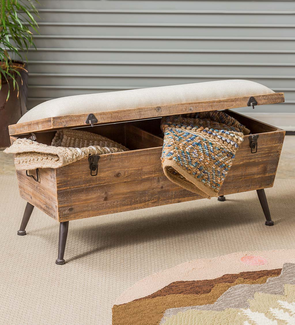 Rustic Wooden Storage Bench With, Wood Bench With Storage And Cushion