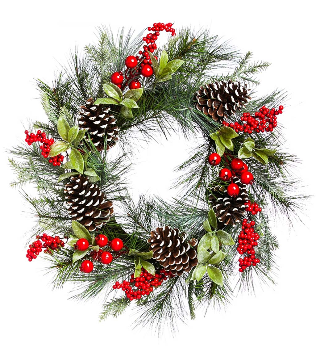 Holly and Pinecone Holiday Wreath