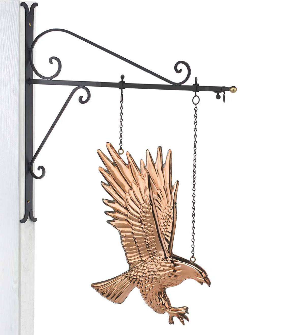 Hanging Copper Bald Eagle with Decorative Bracket