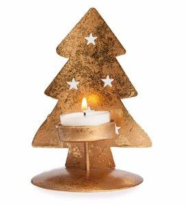 Golden Metal Christmas Tree Tea Light Holder