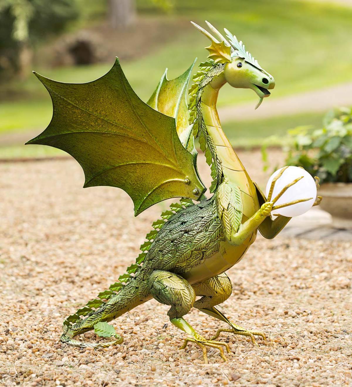 Green Dragon Garden Statue With Solar Globe