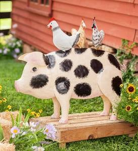 Handcrafted Metal Pig with Chickens Sculpture