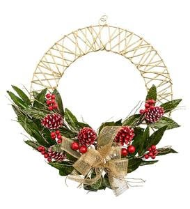 Handcrafted Golden Holiday Wreath with Leaves