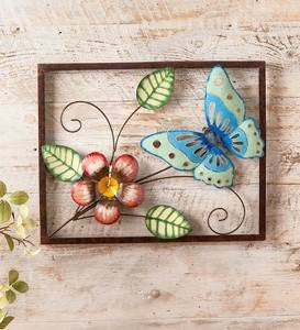 Handcrafted Butterfly and Flower Metal Wall Art