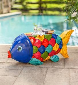 Handcrafted Colorful Metal Fish Side Table