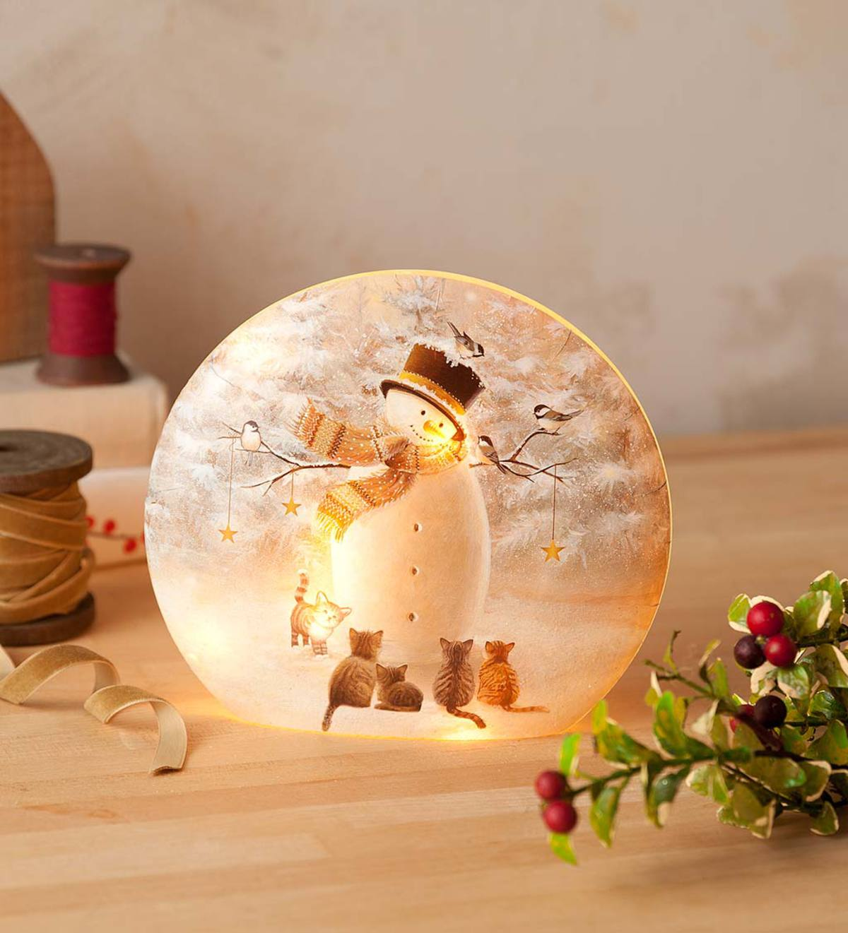 Snowman and Kittens Lighted Tabletop Decoration