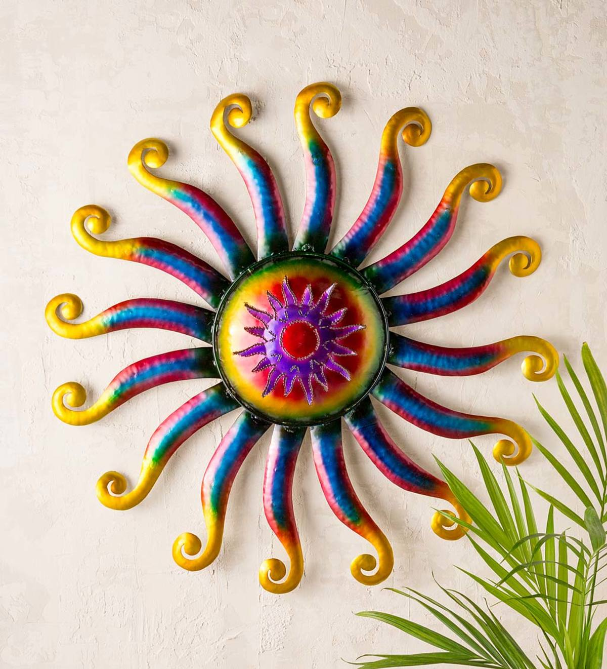 Handcrafted Colorful Lighted Metal Sun Wall Art