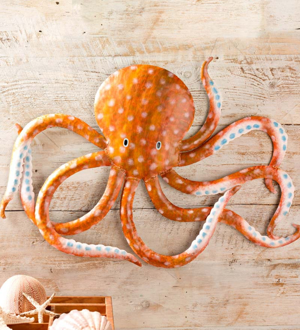 Handcrafted Metal Orange Octopus Wall Art