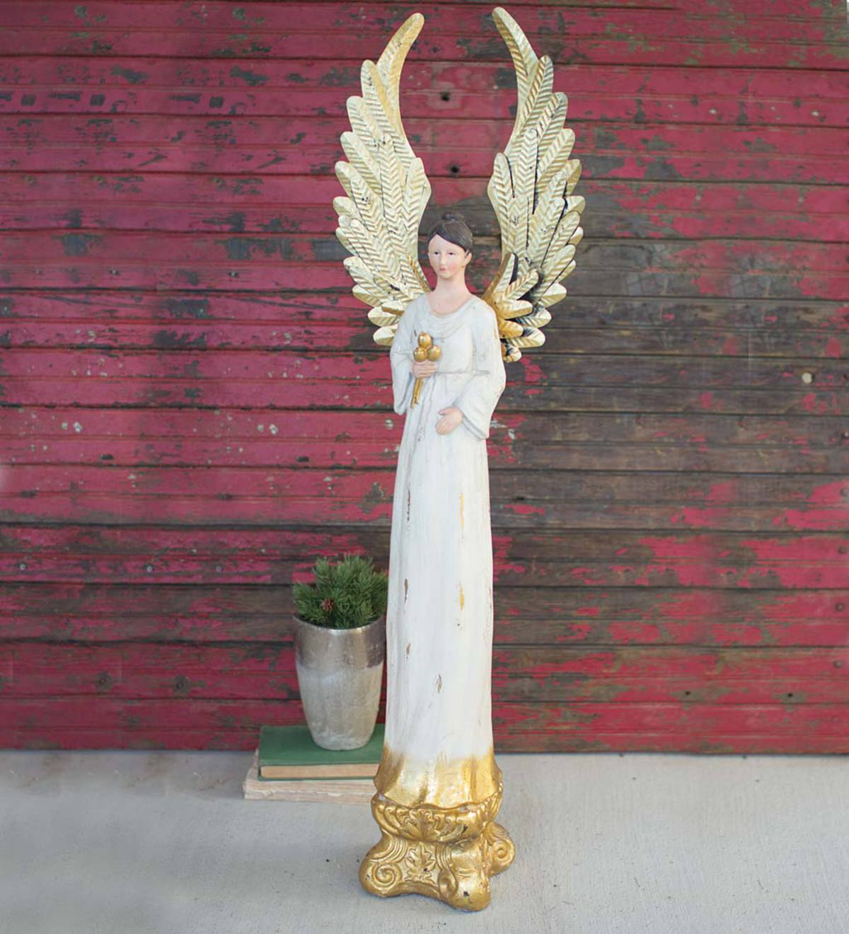 Tall Metal Painted Holiday Angel Figurine