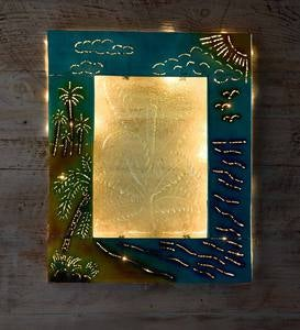 Handcrafted Lighted Tropical Metal and Glass Wall Art