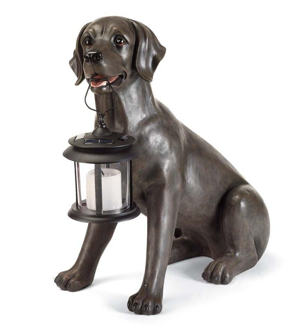 Black Labrador Dog Statue Holding A Solar Lantern