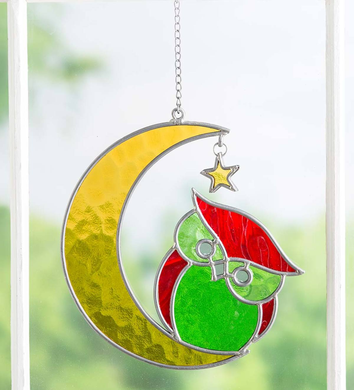 Owl on Moon Hanging Stained Glass Decoration