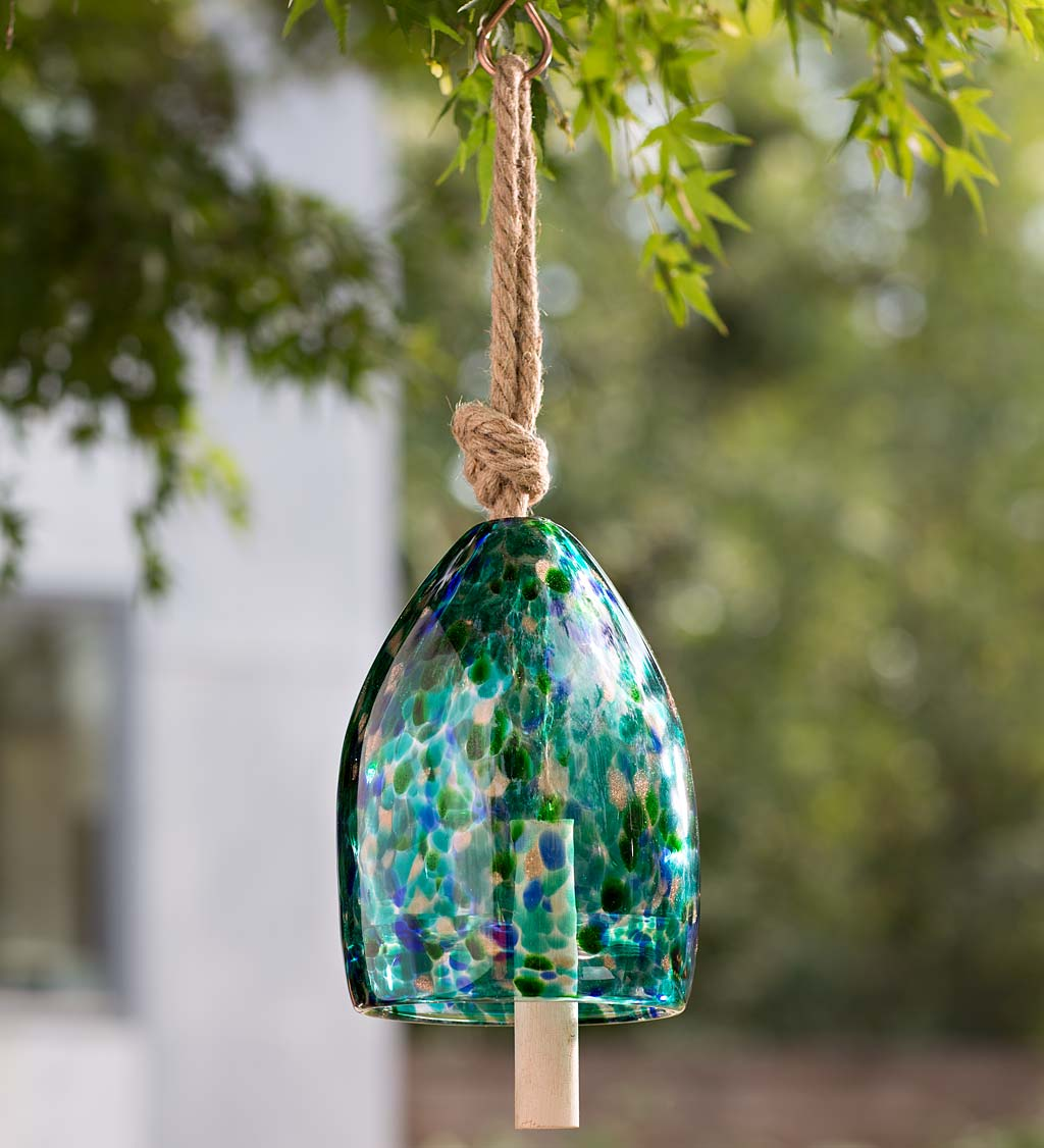 Colorful Mouth-Blown Glass Bell with Jute Hanging Rope and Poplar Wood Clapper - Aqua