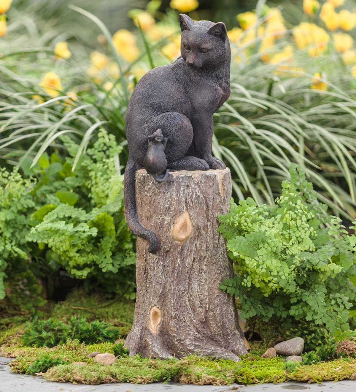 Cat and Mouse on a Stump Garden Sculpture