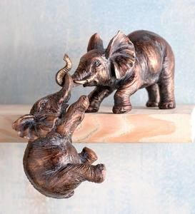Mama Elephant and Baby Bronze-Colored Shelf Sculpture