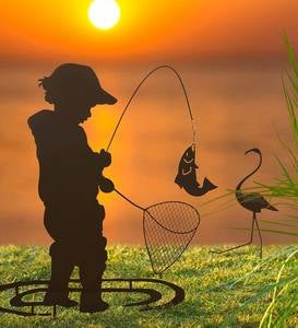 Boy Fishing Silhouette Metal Garden Stake