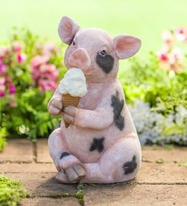 Piggy With An Ice Cream Cone Sculpture