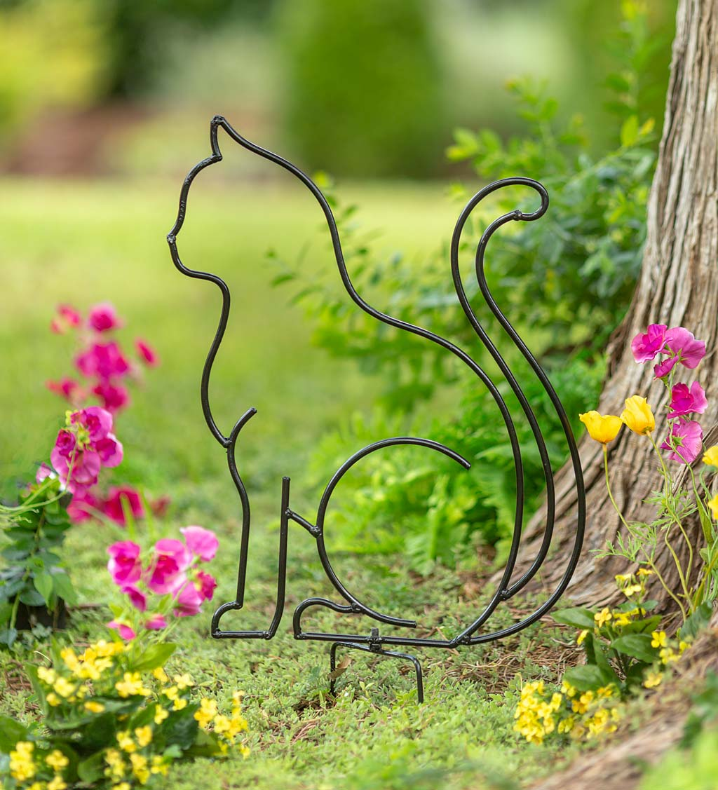 Metal Wireframe Sitting Cat Silhouette Garden Stake
