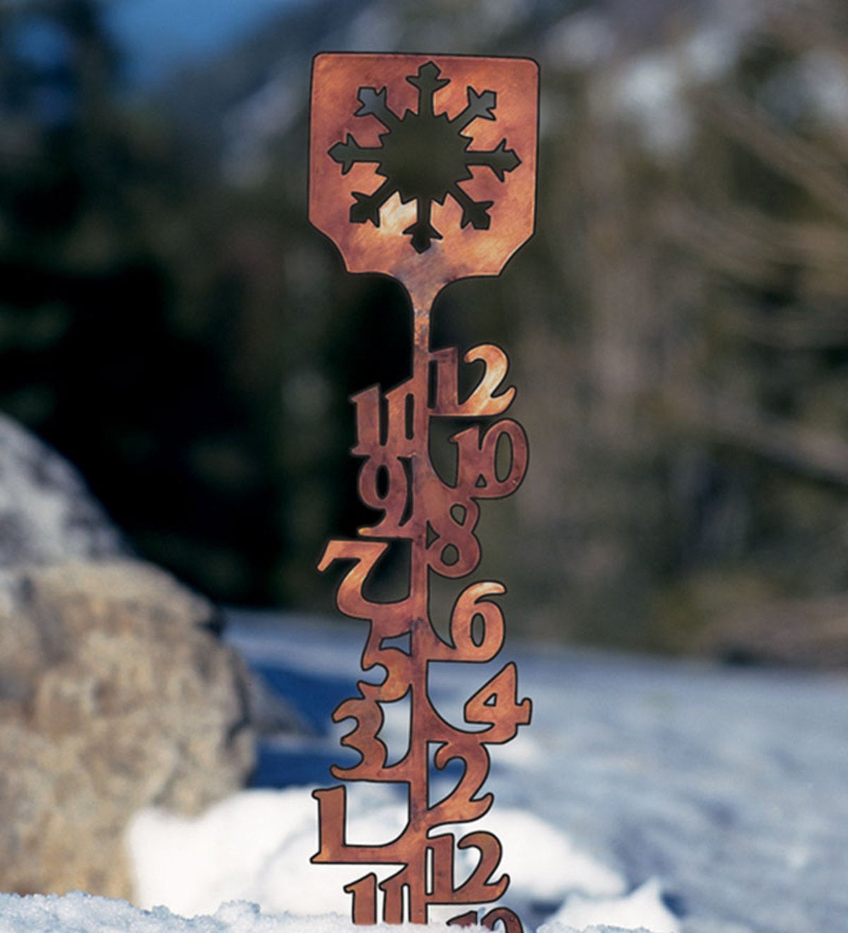 "34""H Handcrafted Copper-Colored Snow Gauge"