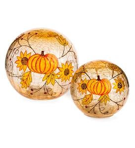 Lighted Crackle Glass Harvest Globes, Set of 2