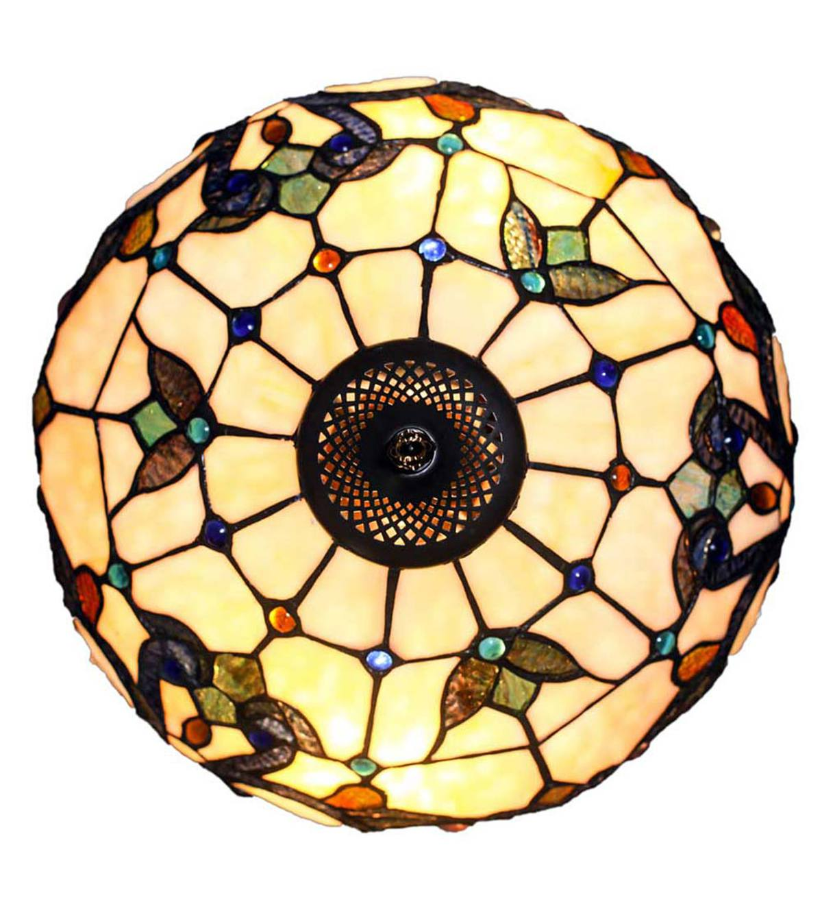Stained Glass Double-Lit Table Lamp - Ivory