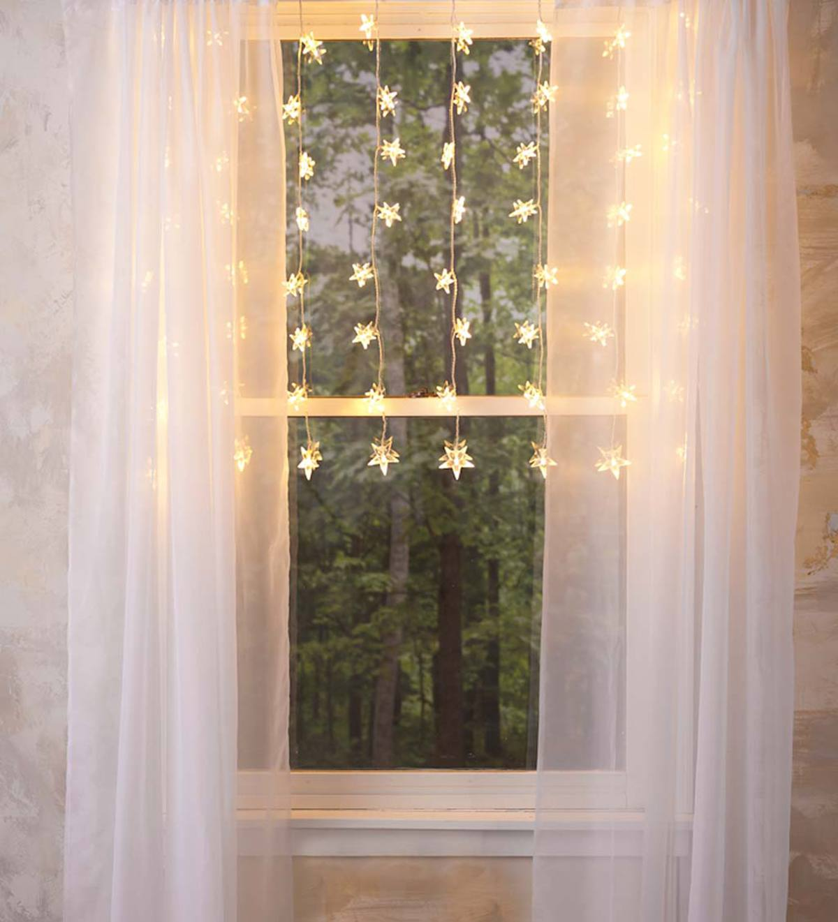 "Electric Star Curtain Lights on Clear Wire, 64 Lights, 42""L"
